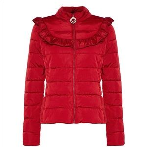 LOVE MOSCHINO Womens Ruffle-Trummed Quilted Jacket